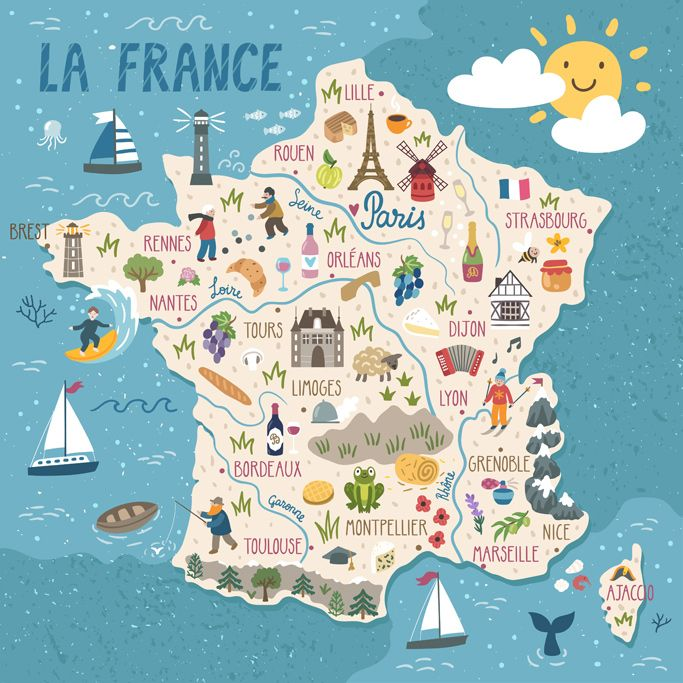 Regions Of France Map France Map Travel Infographic Travel Illustration