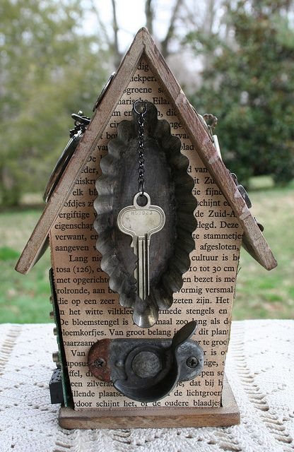 altered birdhouse. use door elements from houses I have lived in. Lida