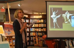 """Cathy Gendron did a launch signing at the Nicola's Books in Ann Arbor a bit ago and it was really something special. We'd highlighted some images from her debut picture book, The Nutcracker Comes to America, by Chris Barton, but wanted to show two pix of the signing and talk too. WHAT a blast …wish I could have been there! Kudos Cathy!"""