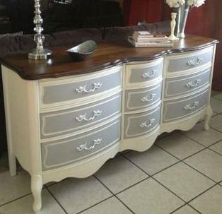 Painted French Provincial Dresser I think I would like it with the colors reversed...gray dresser, off white drawers