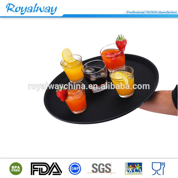 EU standard high quality black colored plastic serving tray