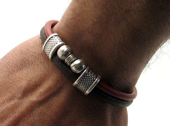 Men's Bracelet. Men's Leather Bracelet Brown and red leather multi strand bracelet with silver plated spacer and clasp