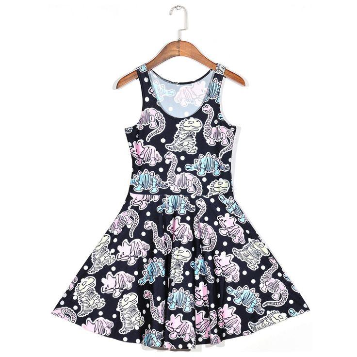 New dress Girls dress Hot Women Dress Digital Print Animal dinosaur extinct forest Summer Sleeveless Beach DRESS vestidos