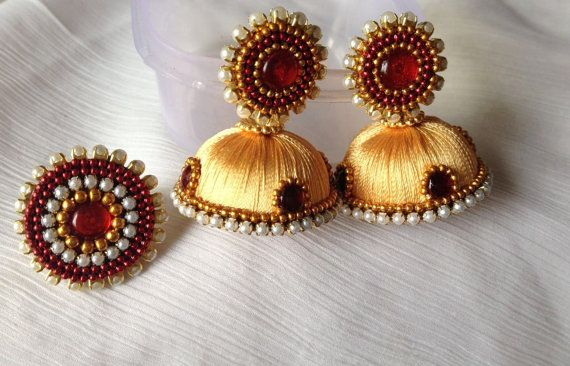 silk thread jhumkas bollywood earrings golden silk by CozMHappy