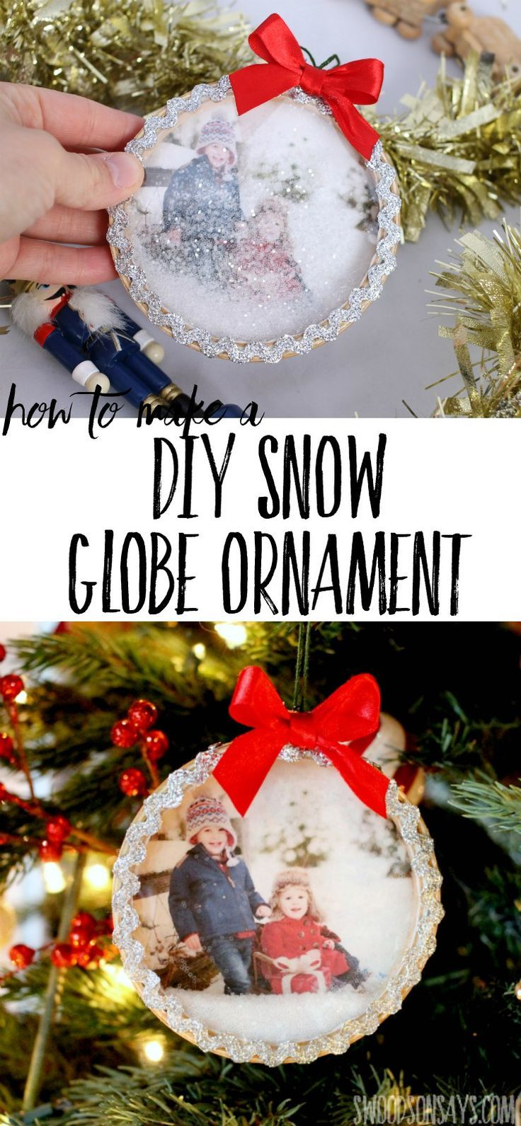 See how easy it is to make this super fun glitter shaker ornament! A DIY snow globe ornament that the kids can play with safely, with a personalized photo. #diysnowglobe #diychristmasornament #christmasornamenttutorial