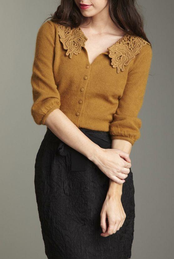 lace mustard cardigan / darling maggie
