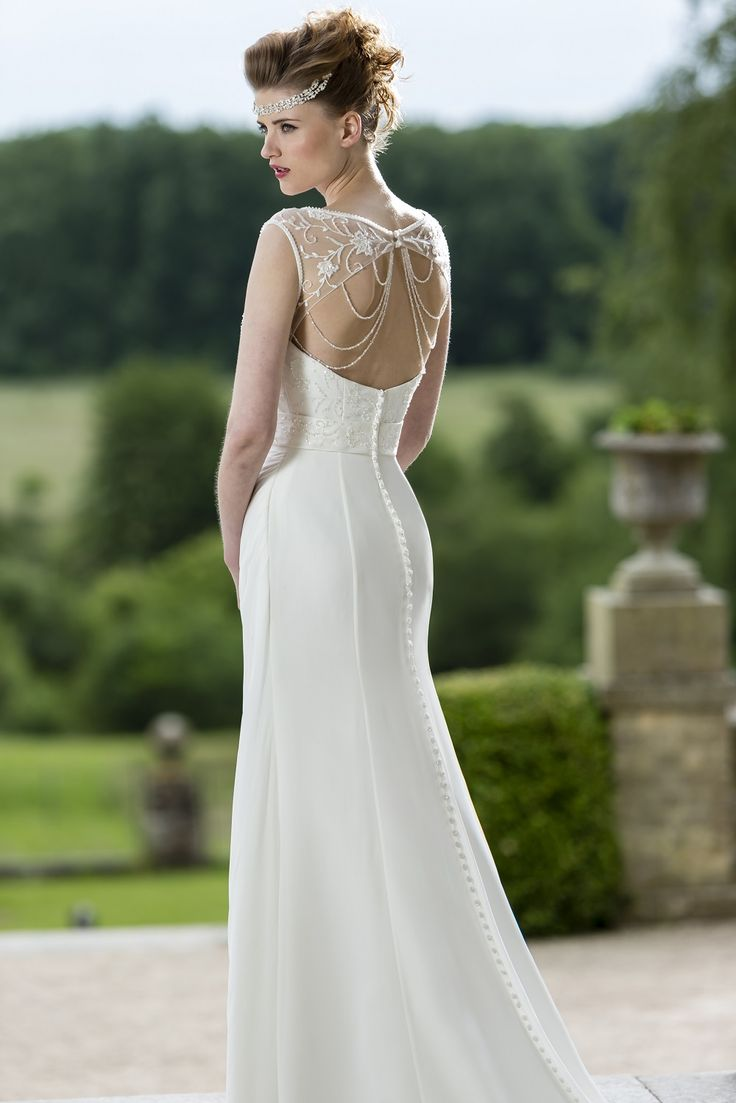 W157 slim chiffon bridal gown with beaded bodice and for Wedding dress with back detail