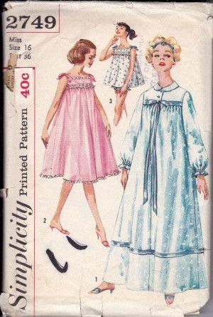 Simplicity 2749 Ladies Lingerie Nightgown Baby Doll Pajamas Vintage Pattern 1950's #1950s #ladies #lingerie #nightgown #simplicity #vintage #patterns #sewing #retro #vintagestitching