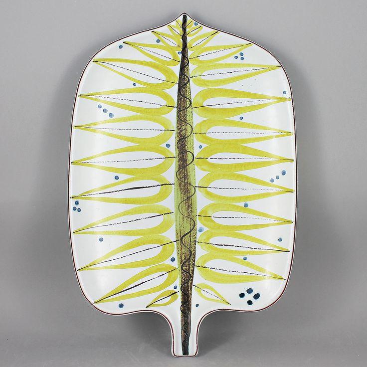 Stig Lindberg (1950s) Grand Yellow Faience Leaf Dish