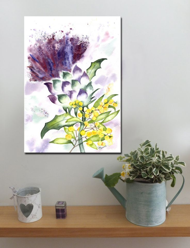 Thistle and Golden Wattle http://www.splashyartystory.com/shop/art-prints/thistle-and-golden-wattle-art-print-of-painting/