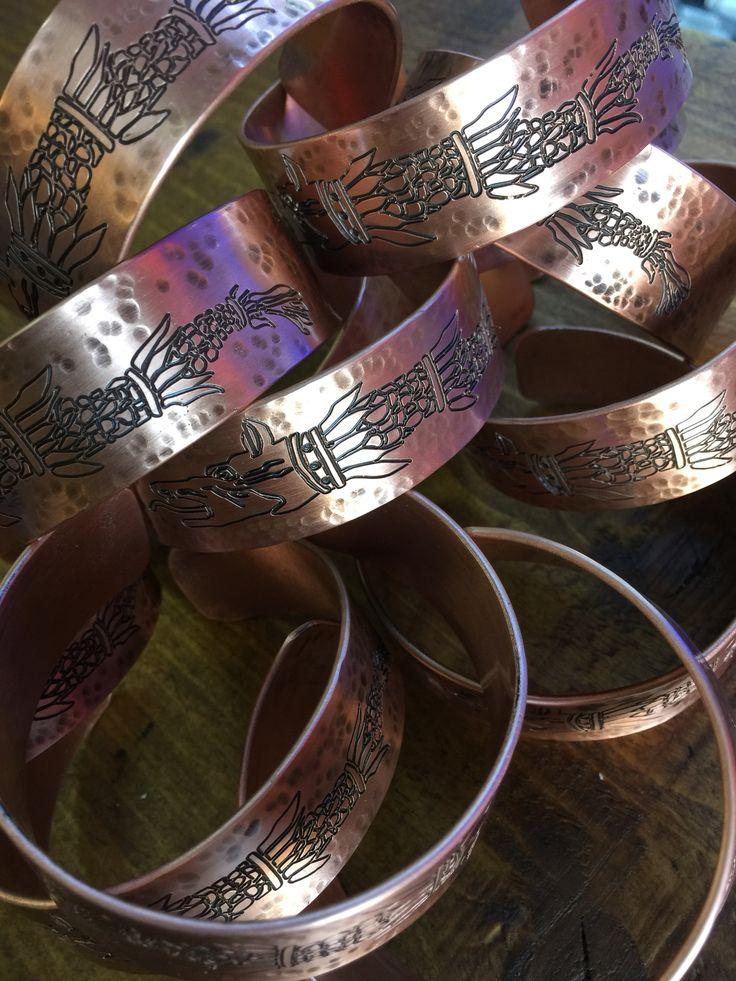 Bratara din cupru lup dacic Copper bracelet
