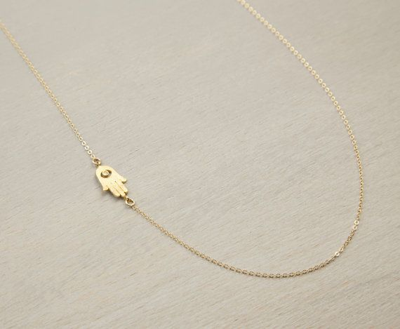 Gold Necklace Hamsa, Tiny Hamsa Necklace, Hand of Fatima Necklace, Evil Eye, Delicate Thin Gold Necklace