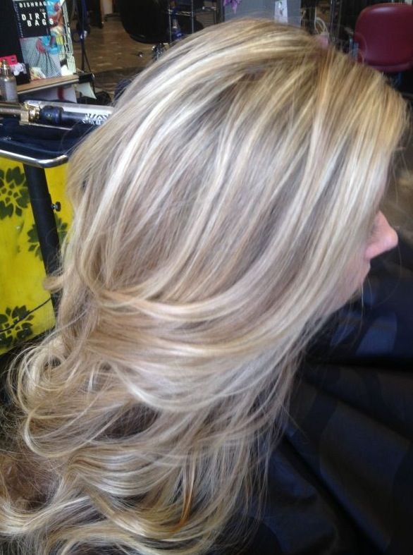 Long light ash blonde hair with natural ash brown highlights and lowlights. Transition colour for future?