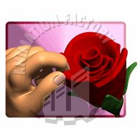 Hand Plucking Petals Out Of Rose Animated Clipart