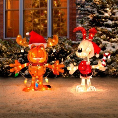 Garfield odie pre lit tinsel outdoor christmas for Christmas cat yard decorations