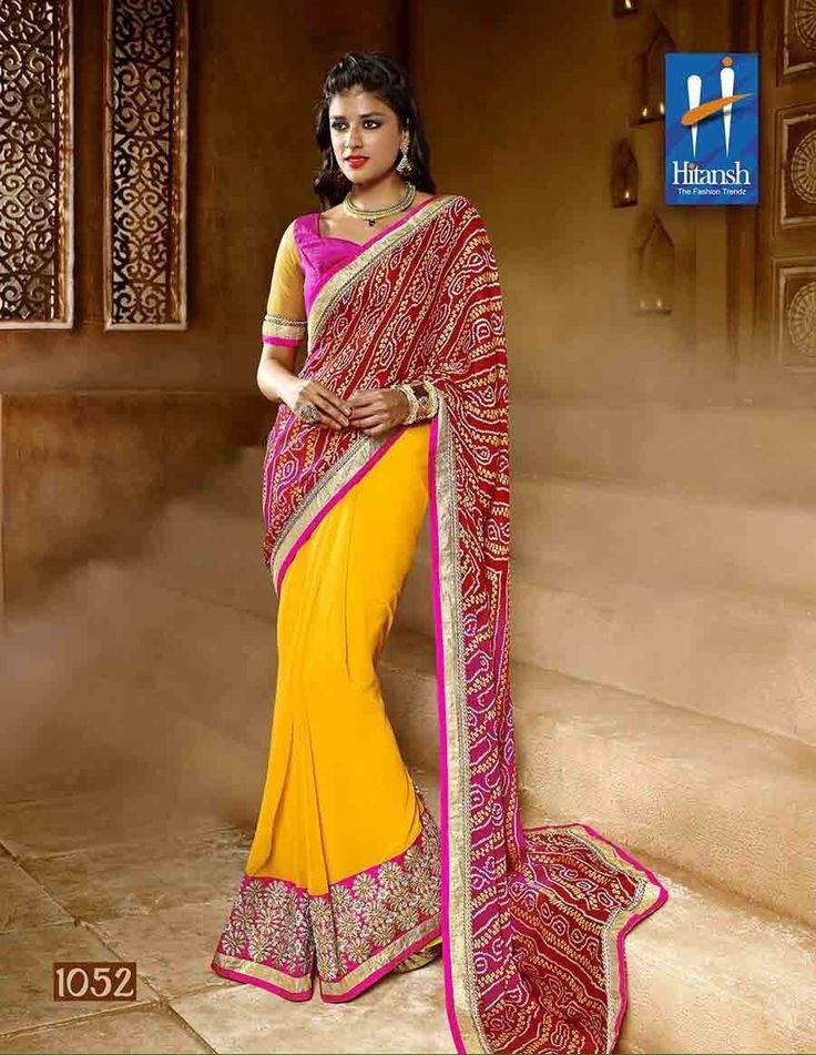 """""""Weekend saree sale"""" Pls call/whatsapp +919600639563. Code: wss htyellow Price: Pls inbox/whatsapp Material: Georgette saree with attached blouse. For booking and further details pls call or whatsapp us at +919600639563. Happy shopping y'all :) Be Beautiful :)"""