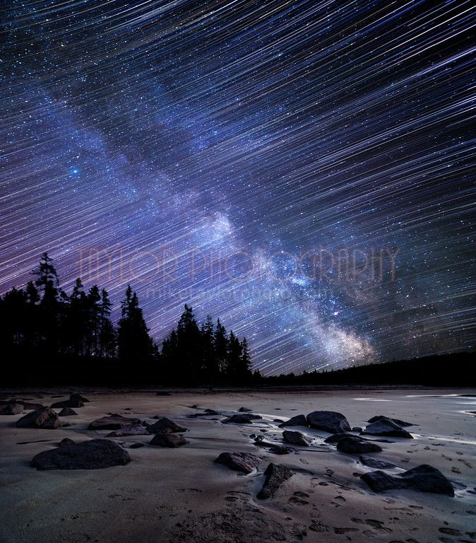 This image is a composite of the foreground shot and 185 frames of the sky. These photos were taken with different cameras/lenses at different locations about a year apart. I stacked the frames of a Milky Way time lapse to make a standard star trails image and then masked in a single frame of the Milky Way using a blending method that I've been working on for a while.  Sky: Nikon D600 & Nikon 14-24 @ 24mm f/2.8 - 185x30 secs - ISO 3200 – WB Kelvin 3570 04/04/14 – 2:56-4:46AM  Photographed…