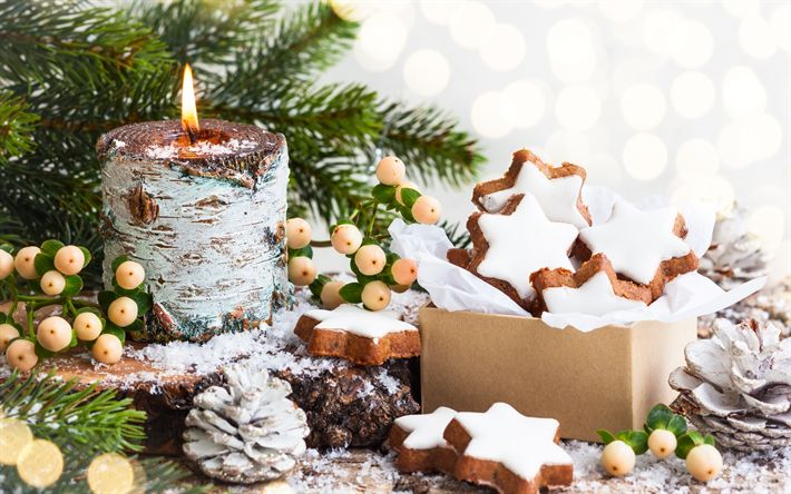 Download wallpapers Christmas, New Year, burning candle, cones, cookies, Christmas decorations