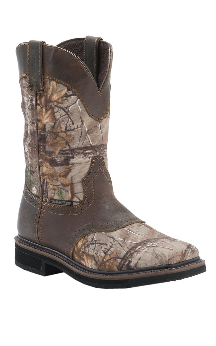 Justin Original Workboots Stampede Men's Realtree Camo & Rugged Tan WP Square Toe Work Boots