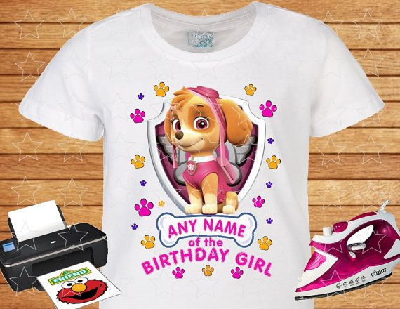 Any Name of the Birthday Girl on T-shirt PAW Patrol by TipTop777