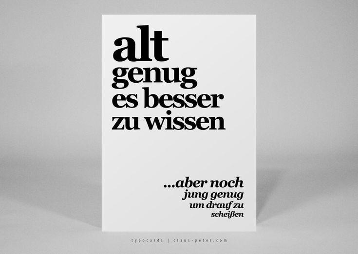 Typocard | Alt Genug | T077 Postkarte Von Heyhey Postcardshop Auf  DaWanda.com