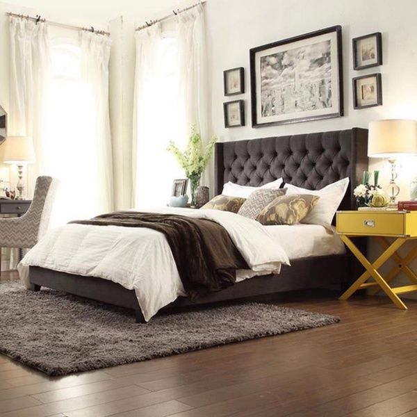 Naples Dark Gray Linen Wingback Button Tufted Upholstered King-sized Bed
