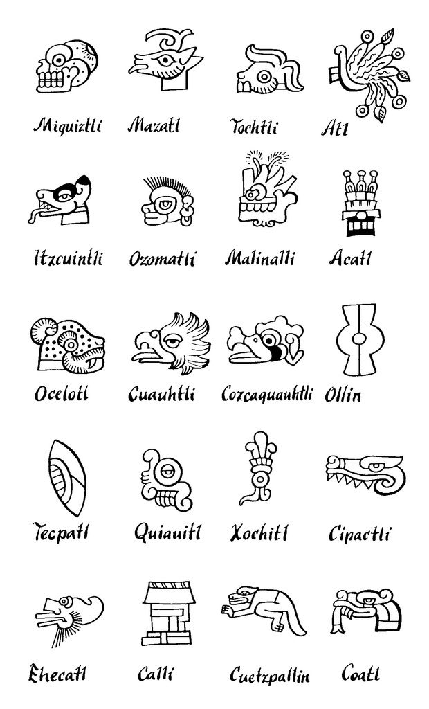 Mexico - Aztec Day Signs <---trying to learn nahuatl estos son signos de los días                                                                                                                                                     Más