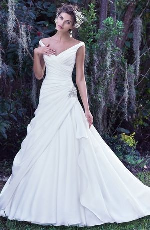 Tip of the Shoulder A-Line Wedding Dress  with Dropped Waist in Satin. Bridal Gown Style Number:33459561