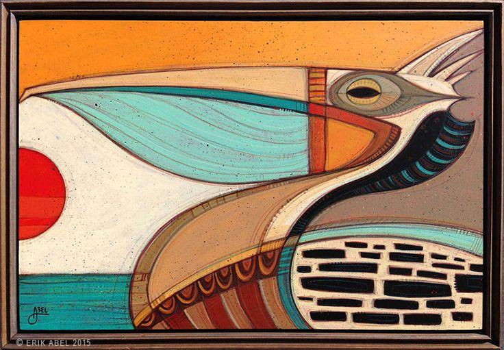 "Pelicano 2"" © Erik Abel 2015  19.5x13.5  Acrylic, marker, colored pencil on wood. Frame: Reclaimed Wood"