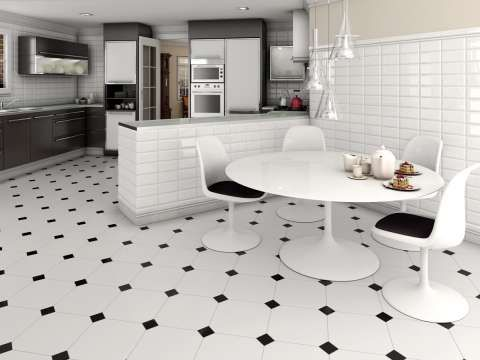 Black and White Floor Tiles - The Monocolour Collection