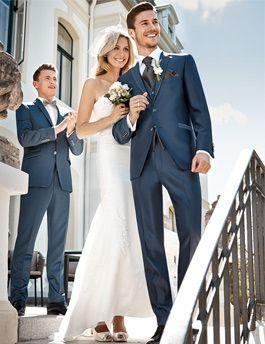 Hochzeitsanzug Trends Frühjahr/Sommer 2016 von WILVORST. Klassisch eleganter Hochzeitsanzug in Blau.