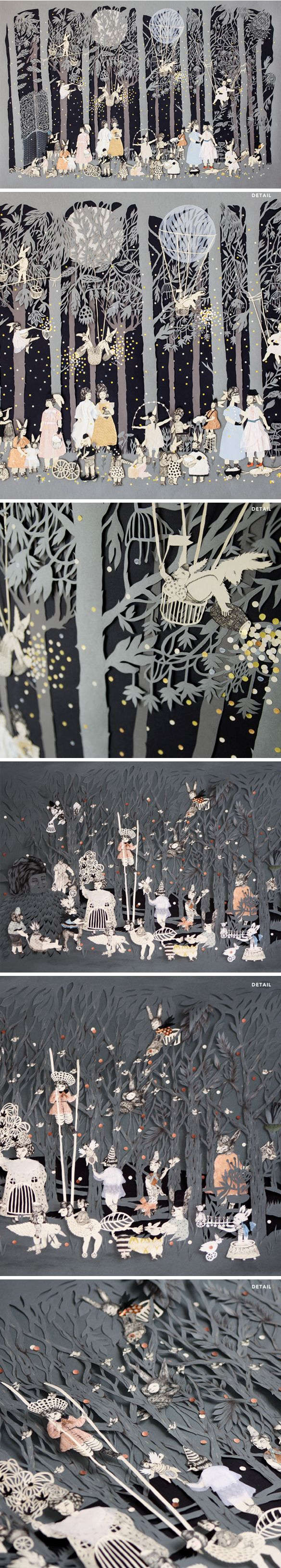 Lucila Biscione's magical paper worlds, created with layers of very carefully cut paper, ink and graphite.