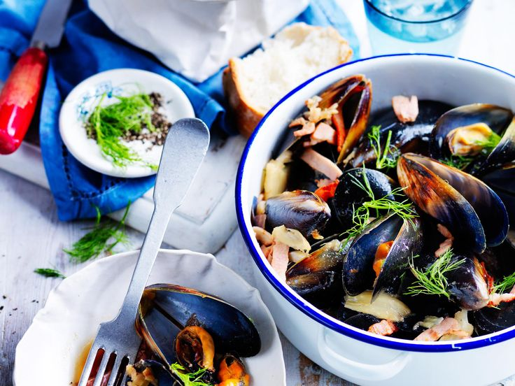 Bacon, cider and fennel mussels | Recipe | Bacon, Fennel and Mussels