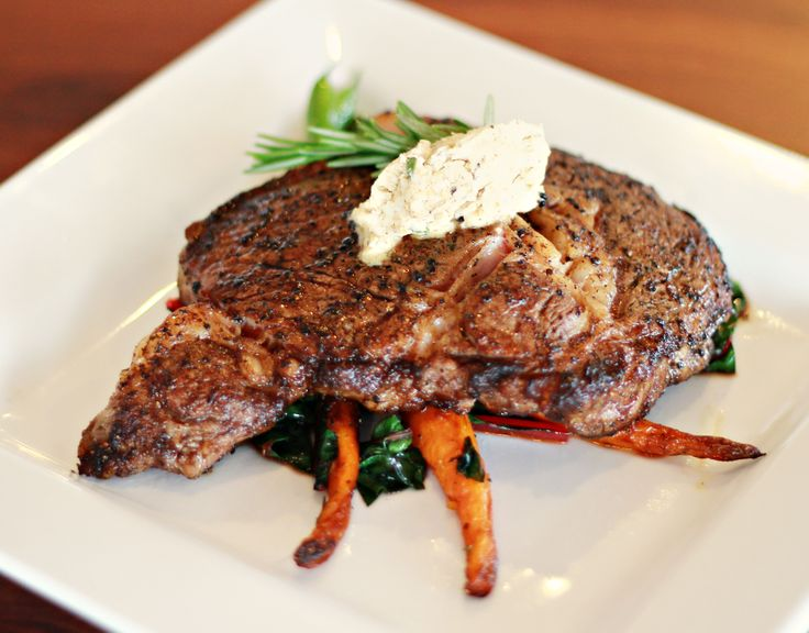 ... Spiced Rubbed Rib Eye Steak with Melting Rosemary-Date Butter