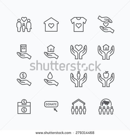 charity and donation silhouette icons flat line design vector - stock vector