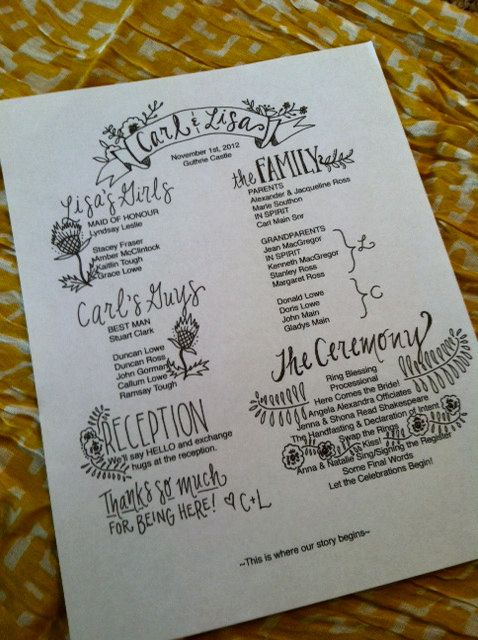 Custom Wedding Programs via Etsy (I'd enlarge this and make it a poster instead of individual programs)