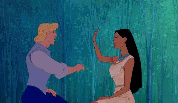 Moment #2: When Pocahontas and John Smith exchange greetings. It's a simple and relatively quick exchange, yet it shows that love knows no barriers.
