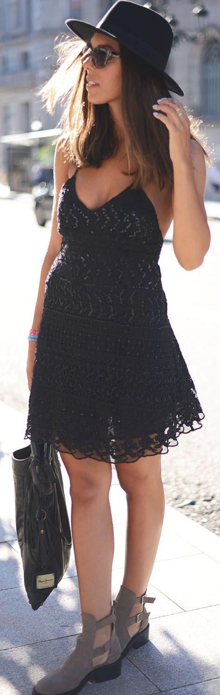 Zara Black Mini Embellished Lace Cami Dress by The Fashion Through My Eyes