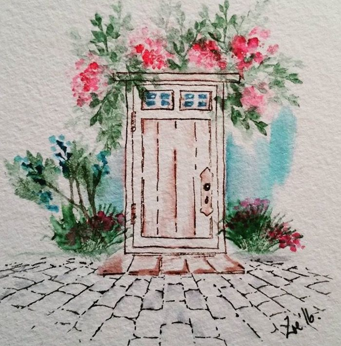 Art Impressions Wonderful Watercolor: handmade card with wood door, stone walkway, flowers, foliage