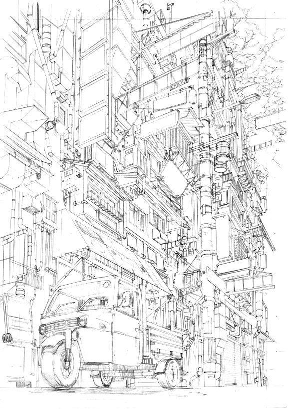 3年前の線画 perspective , street , building