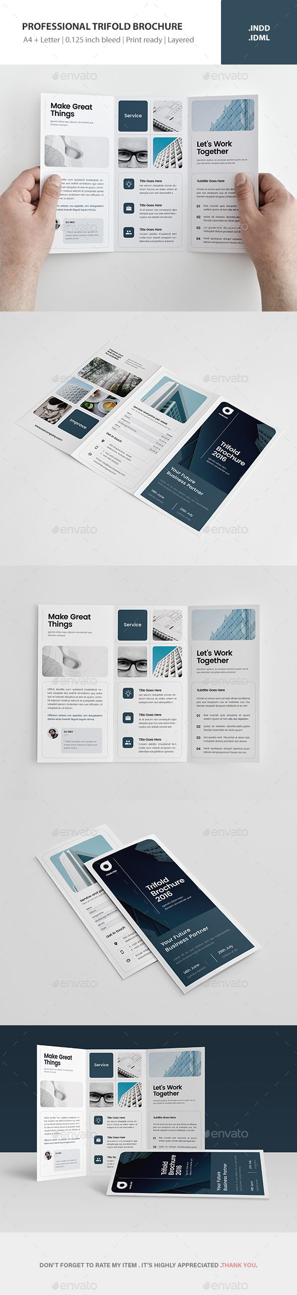 Professional Trifold Brochure Template InDesign INDD