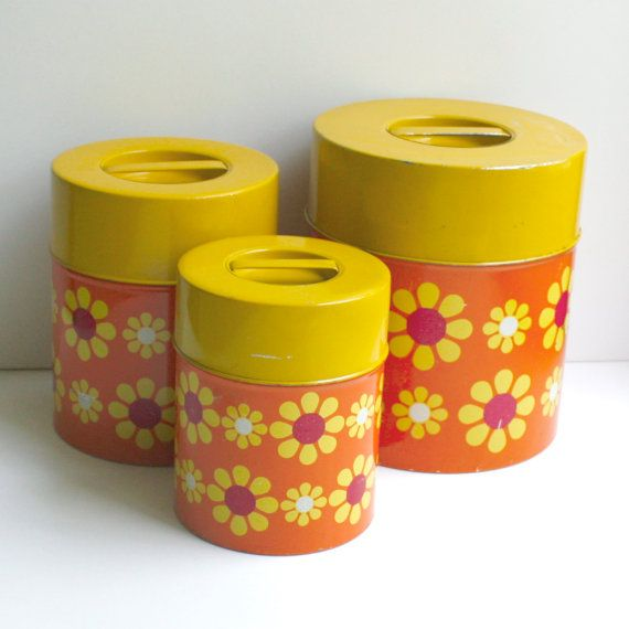 Vintage Metal Canister Set   Flower Power Orange Red Yellow   Set Of Three