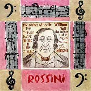 Italian Music ~ Gioachino Rossini was an Italian 19th century composer. Together with Bellini and Donizetti he was one of the main proponents of 'Bel Canto' opera. The background lists some of his best known works.