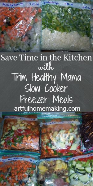Almost every busy homemaker I know loves to save time in the kitchen. There are just so many more exciting and needful things to be doing! Last summer (about 6 months ago) I decided to spend a few days in the kitchen making freezer meals to save some time when school started. I found this list of Trim Healthy Mama freezer-to-crock pot recipes after seeing someone