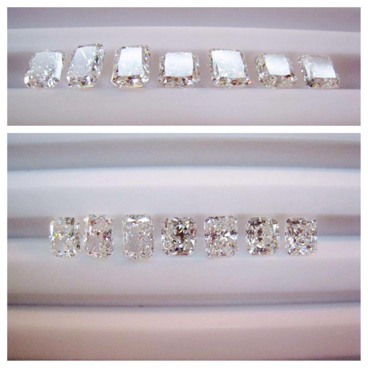 All of these diamonds are 1 carat radiant cuts, an example of how much a fancy cut stone can vary in size and brilliance! This is the extent that we go to choose the right stone for our customers and stock pieces.