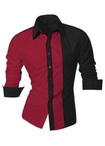 Color Block Splicing Design Turn-Down Collar Long Sleeve Shirt For Men