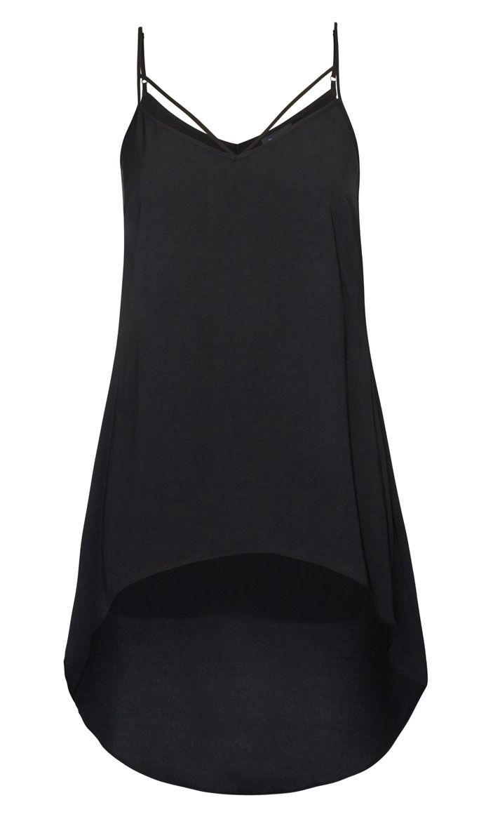 City Chic - STRAPPY HI LO BLACK CAMI - Women's Plus Size Fashion