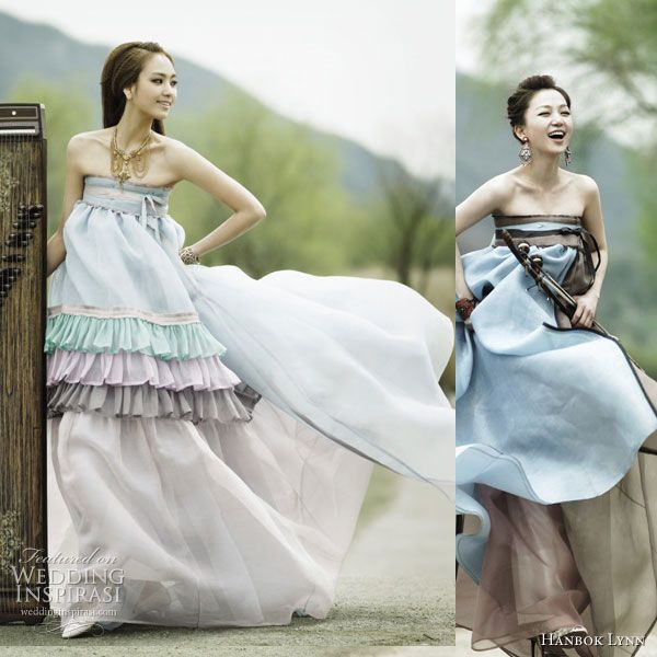 Traditional korean dress given an update using unusual materials such as chiffon, in lighter colors and incorporating elements such as ruffles and tiered skirt