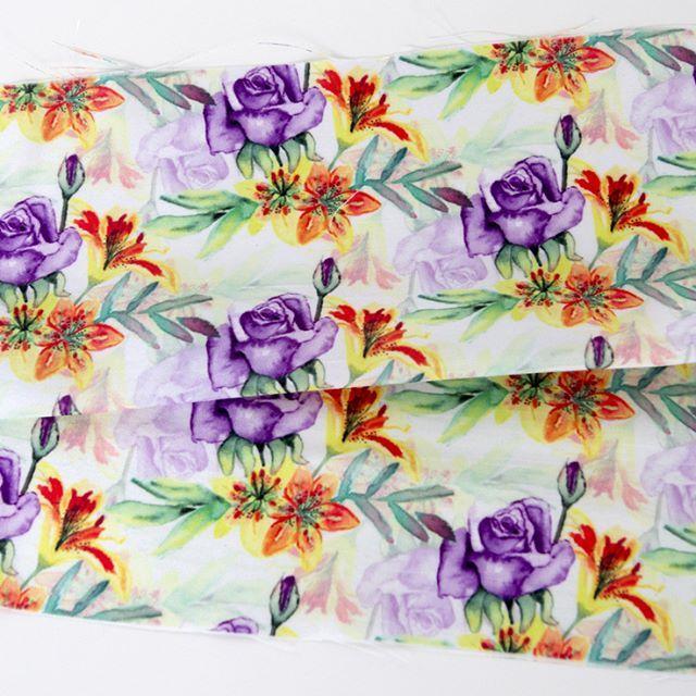 Purple roses pattern printed on Shantung