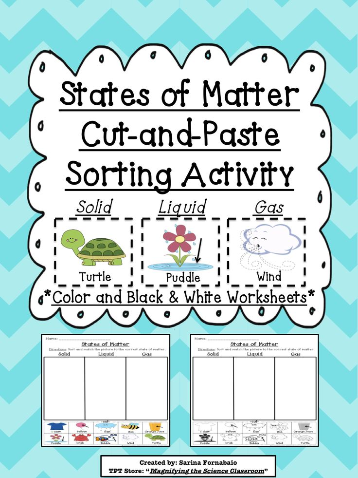 states of matter cut and paste sorting activity motor skills student work and activities. Black Bedroom Furniture Sets. Home Design Ideas